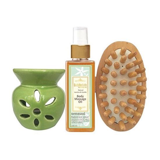Panache Spa Massage Collection, Natural Jasmine & Vanilla Body Massage Oil, Wooden Massager, Aroma Oil Burner & T-Light