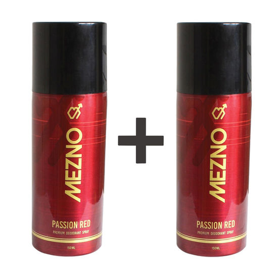 Mezno Passion Red Sizzling And Long Lasting Fragrance Deodorant Body Spray For Men - 24 Hrs Fresh Power Deo - (150 Ml)  (Buy 1 Get 1 Free )